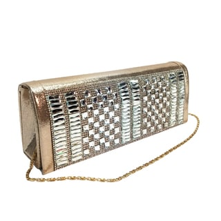 Alfa Elegant Evening Faux Leather and Fabric Clutch Handbag