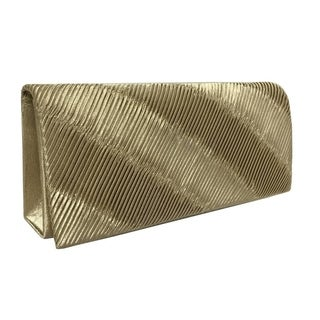 Alfa Solid-colored Satin/Faux-leather Evening Clutch Handbag