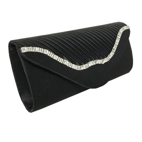 Alfa Elegant Black Faux Leather Fabric Evening Clutch Handbag