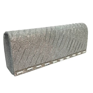 Alfa Black/Gold/Silver Faux Leather/Fabric/Satin Elegant Evening Clutch Handbag