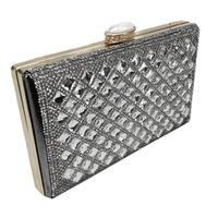 Alfa Women's Elegant Faux Leather and Fabric Evening Clutch Handbag