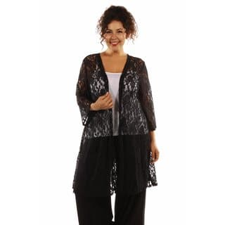 24/7 Comfort Apparel Women's Elegant Lace Plus Size Cardigan Shrug|https://ak1.ostkcdn.com/images/products/13082362/P19817265.jpg?impolicy=medium