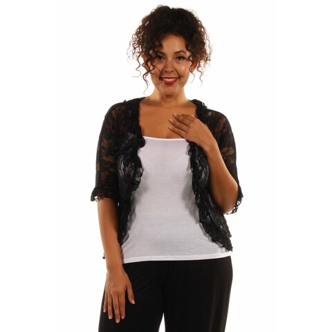 24/7 Comfort Apparel Women's Goddess Black Lace Plus Size Bolero Cardigan Shrug