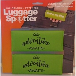 Adventure Awaits Bright Lime Green Original Patented Luggage Spotters (Set of 2)