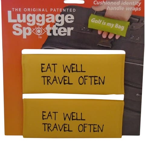 EAT WELL TRAVEL OFTEN Bright Yellow Original Patented Luggage Spotter (Set of 2)