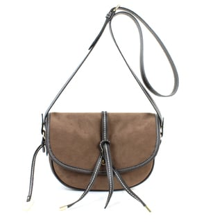 London Fog Newbury Brown PVC Crossbody Saddle Handbag