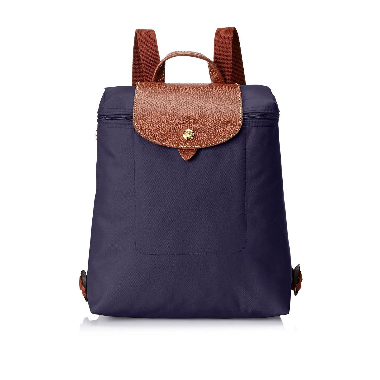 Longchamp Le Pliage Bilberry Purple Nylon and Leather Bac...