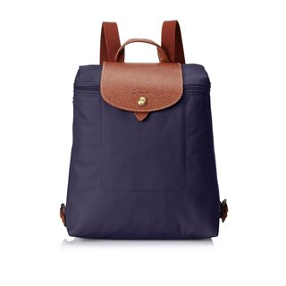Longchamp Le Pliage Bilberry Purple Nylon and Leather Backpack
