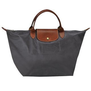Longchamp Le Pliage Medium Gunmetal Grey Canvas Foldable Shoulder Tote Bag
