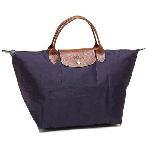 Shop Longchamp Le Pliage Medium Bilberry Canvas Foldable Shoulder ... e3c2ab3b1c643