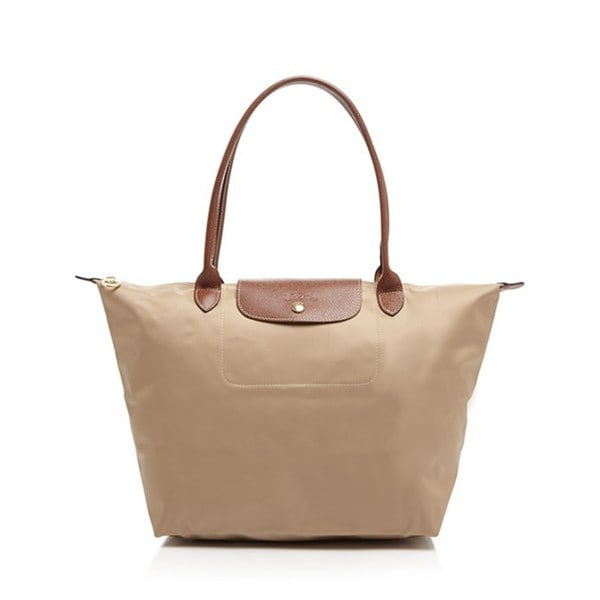 Shop Longchamp Le Pliage Beige Nylon Large Foldable Tote Bag - Free ... c22fc9bbbc53d