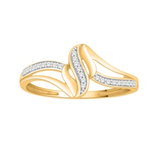 Trillion Designs 14k Yellow Gold over Silver Diamond Accent Cluster Engagement Ring (H-I, I1-I2)