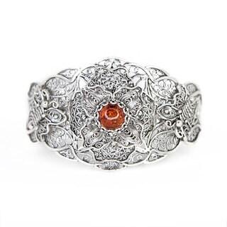 Sterling Silver Lace Amber Cuff Bracelet