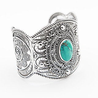 Sterling Silver and Turquoise Lace Design Cuff Bracelet