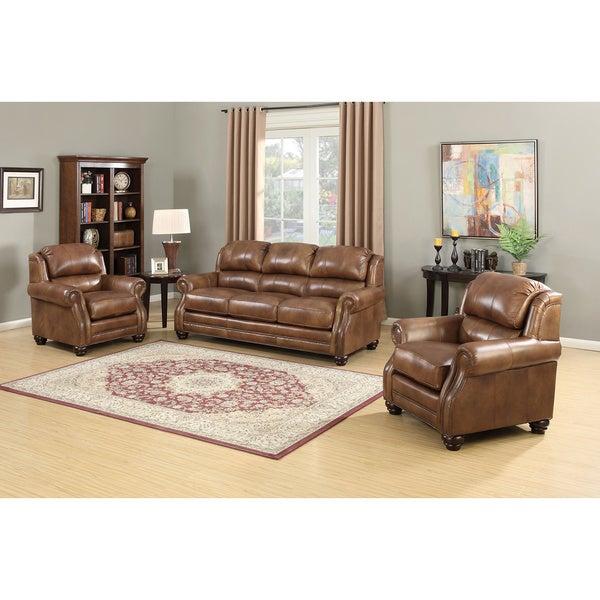 Shop Bentley Premium Brown Top Grain Leather Wingback Sofa