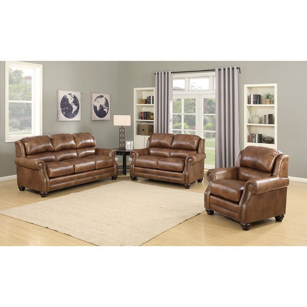 Attractive Bentley Premium Brown Top Grain Leather Wingback Sofa, Loveseat And Chair