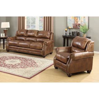 Bentley Premium Brown Top Grain Leather Wingback Sofa and Chair|https://ak1.ostkcdn.com/images/products/13082518/P19817355.jpg?impolicy=medium