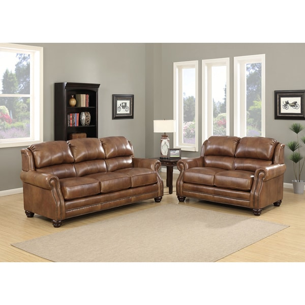 Shop Bentley Premium Brown Top Grain Leather Wingback Sofa