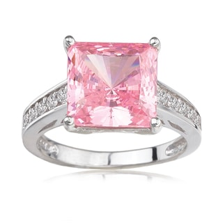 Avanti 14K White Gold Pink Princess Cut CZ and White CZ Fashion Statement Ring