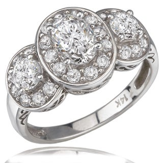 Avanti 14K White Gold 1 1/4 CT TGW Cubic Zirconia Three Stone Halo Anniversary Ring