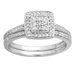 Elora 10k White Gold 1/3ct TDW Round-cut White Diamond Bridal Set (I-J, I2-I3)
