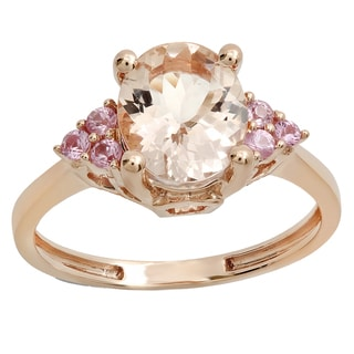 Women's 14K Rose Gold 2 1/6-carat Oval Morganite and Round Pink Sapphire Bridal Engagement Ring