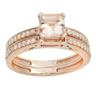 14k Rose Gold 1 1/3ct TDW Asscher Morganite and Round Diamond Bridal Ring Set (I-J, I1-I2 )