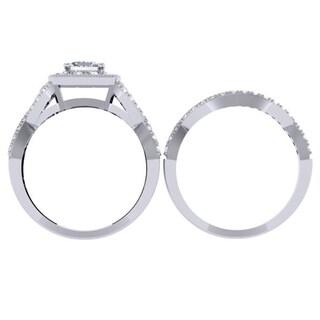 10K Gold 1 3/8ct TDW Princess & Round Diamond Twisted Halo Bridal Ring Set (H-I, I1-I2)