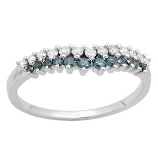 10k Gold 1/3ct TDW White and Blue Diamond Stackable Chevron Ring (H-I, I1-I2)