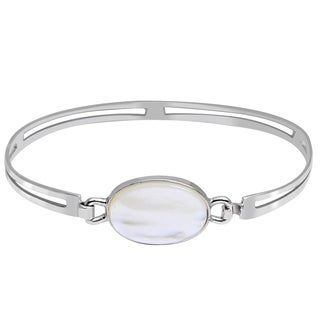 Orchid Jewelry 925 Sterling Silver 4 Carat Mother of Pearl Bracelet