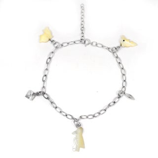 Orchid Jewelry 925 Sterling Silver 7 Carat Mother of Pearl Bracelet
