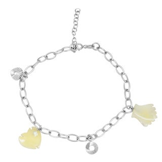 Orchid Jewelry 925 Sterling Silver 6 Carat Mother of Pearl Bracelet