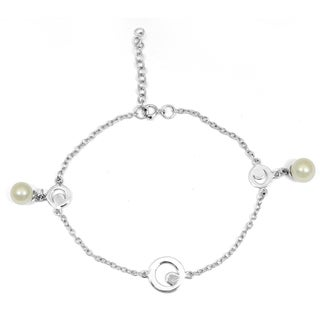 Orchid Jewelry 925 Sterling Silver 4 Carat Pearl Bracelet