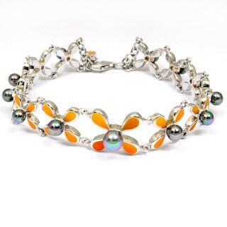 Orchid Jewelry 925 Sterling Silver 10 Carat Pearl Bracelet