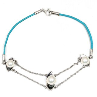 Orchid Jewelry 925 Sterling Silver 2 2/5 Carat Pearl Bracelet