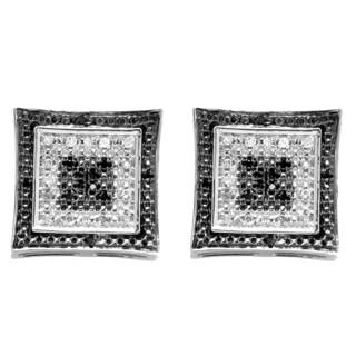 Elora 10k White Gold 1/8ct TDW Round White and Black Diamond Micro Pave Setting Kite Earrings (I-J, I2-I3