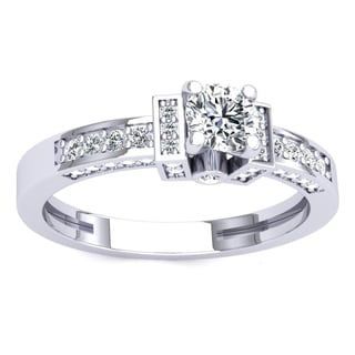 18k Gold and 1-carat Round-cut White Cubic Zirconia Ladies' Bridal Engagement Ring
