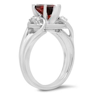 Elora Ladies' 10K Gold 1 3/4-carat Pear Cut Garnet and Marquise Cut White Topaz 3-stone Engagement Ring