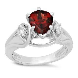 Elora Ladies' 10K Gold 1 3/4-carat Pear Cut Garnet and Marquise Cut White Topaz 3-stone Engagement Ring