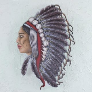 Handcrafted Steel 'My Protector' Wall Sculpture (Mexico)