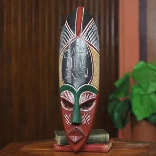 Handcrafted Sese Wood 'Adaptability' African Wall Mask (Ghana)