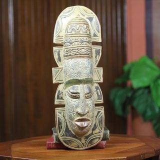 Handcrafted Sese Wood 'Elderly Gentleman' African Wall Mask (Ghana)