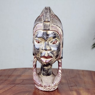 Handcrafted Sese Wood 'Woman Warrior' Sculpture (Ghana)