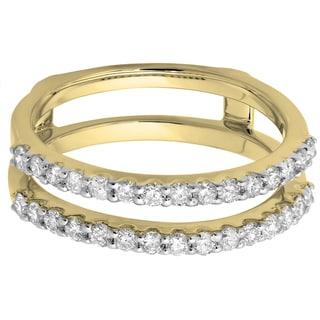 Elora 14k Gold 1/2ct TDW Diamond Anniversary Wedding Enhancer Guard Double Ring (I-J, I1-I2)