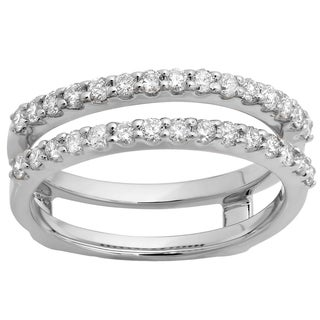 18k Gold 1/2ct TDW Diamond Anniversary Wedding Band Enhancer Guard Double Ring (I-J, I1-I2)