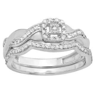 Elora Sterling Silver 1/3ct TDW Round-cut Diamond Crossover Swirl Bridal Set