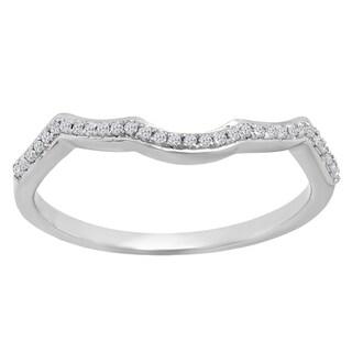 14K Gold 1/10ct TDW Round Diamond Wedding Band Guard Ring (I-J, I2-I3)