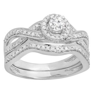 14k Gold 5/8ct TDW Round White Diamond Split Shank Bridal Set (I-J, I1-I2)