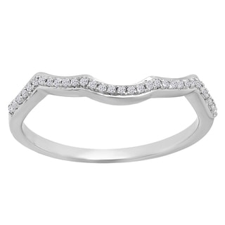 Elora 10k Gold 1/10ct TDW Round-cut White Diamond Contour Guard Ring (I-J, I2-I3)