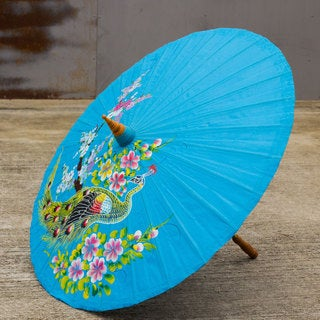 Handcrafted Cotton Bamboo 'Charming Peacock' Decorative Parasol (Thailand)
